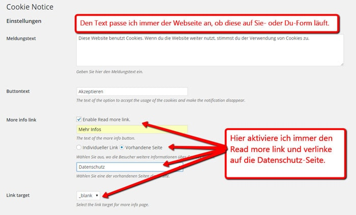 Einstellungen beim Cookie Notice Plugin