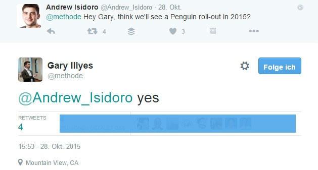 Tweet von Gary Illyes zum neuen Google Pinguin Update