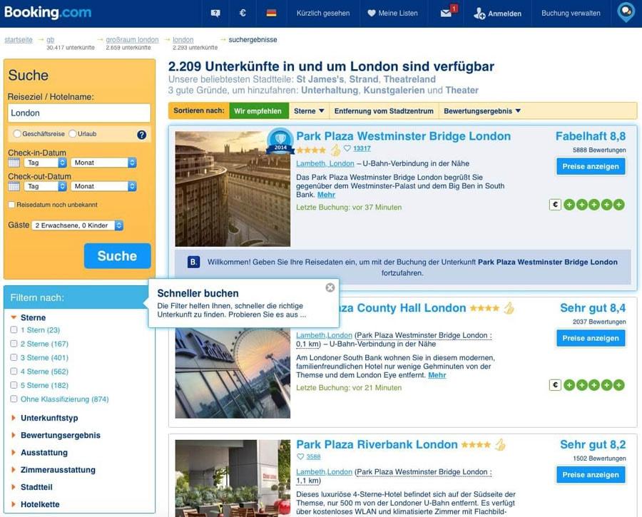 Intelligentes Pop-Up bei Booking.com