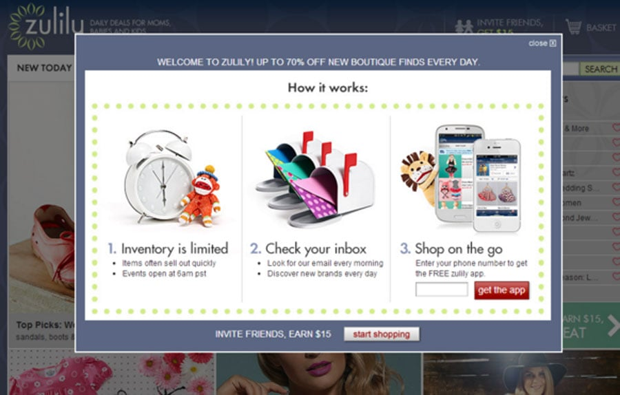 Intelligentes Pop-up bei Zulily