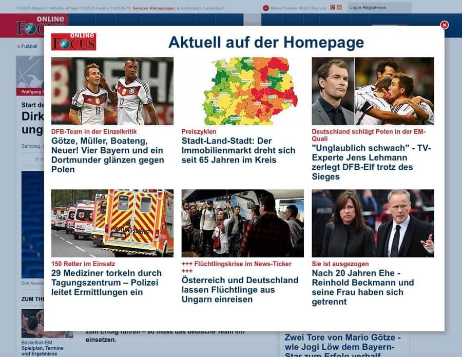 News Pop-ups von Focus.de