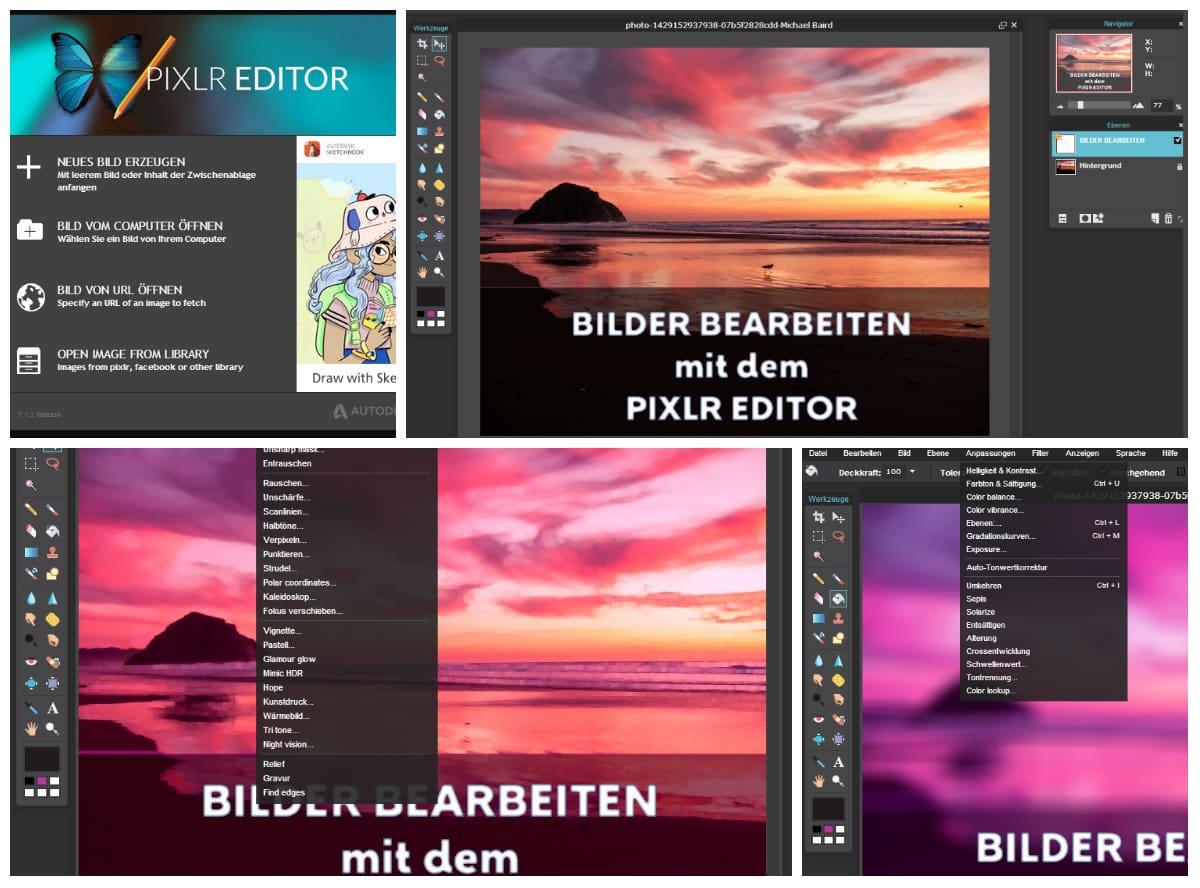 Bilder bearbeiten mit dem PIXLR Editor als kostenlose Photoshop-Alternative