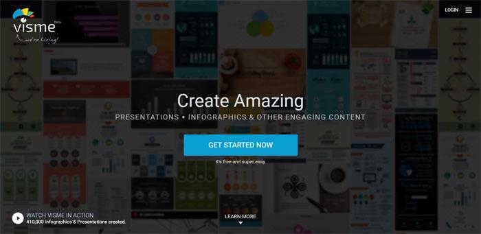 Mit dem Bildbearbeitungsprogramm VISME kannst du Präsentationen, Infografiken und mehr erstellen