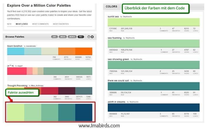 Professionelle Farbpaletten finden mit Farbcode Colourlovers