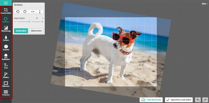 Kostenlose Fotobearbeitung mit Editor-Pho-to - Funktionen: zuschneiden, drehen, Größe ändern