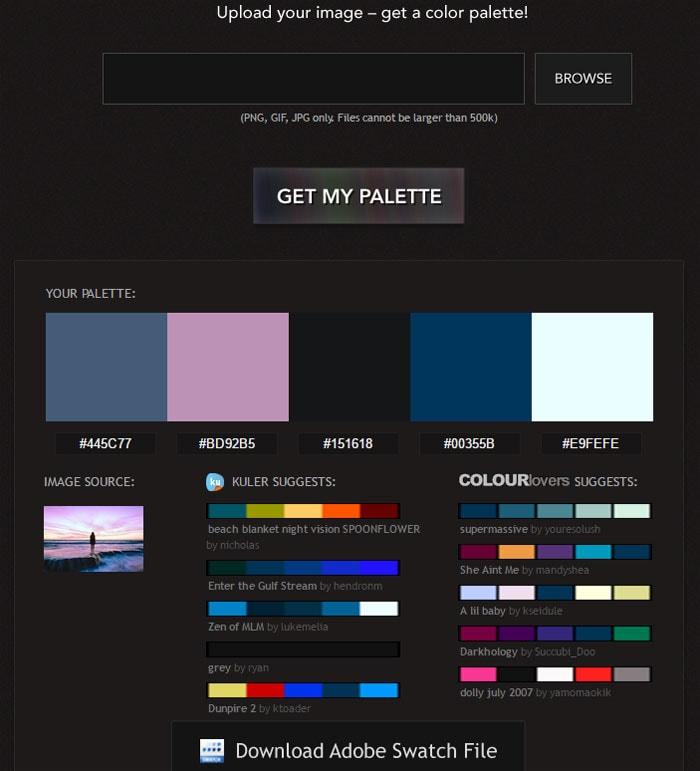 Farb-Palette passend zum Bild von Pictaculous