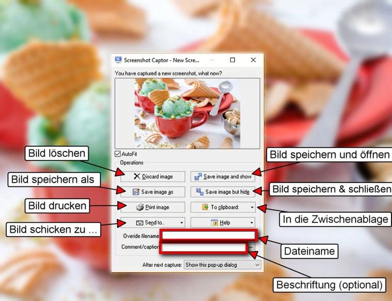 Bildschirmfotos mit Screenahot Captor - Optionen nach dem Screenshot erstellen
