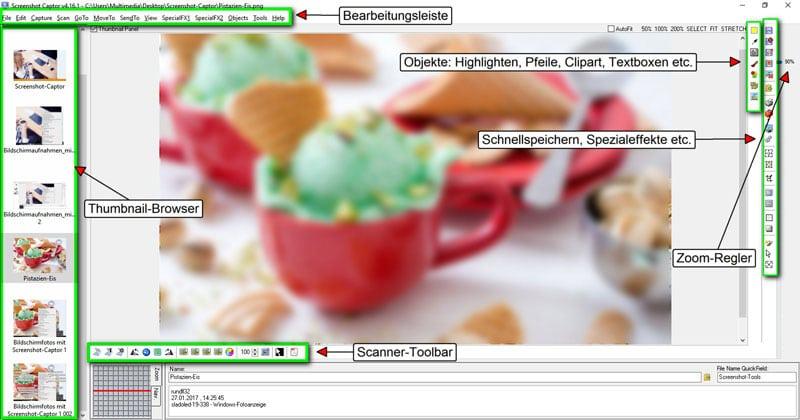 Bearbeitungs-Oberfläche für Bildschirmfotos mit dem Screenshot Captor
