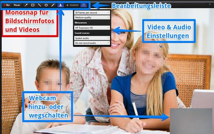 Bildschirmvideos oder Webcam aufnehmen mit Monosnap