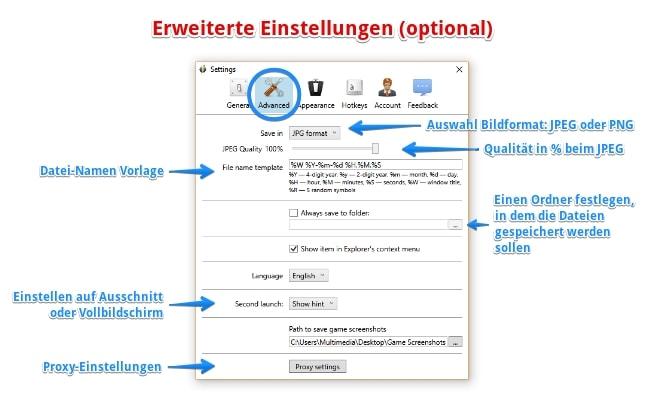 Monosnap Screenshot-Tool Erweiterte Einstellungen