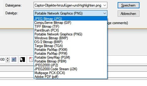 Screenshot Captor-Speicheroptionen der Bildschirmfotos