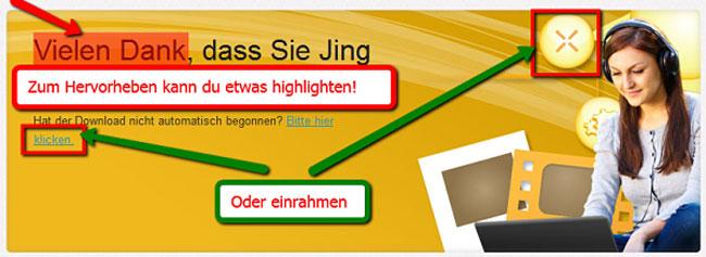 Jing-Screenshot-Tool - Weiterbearbeiten und Beschriften des Screenshots