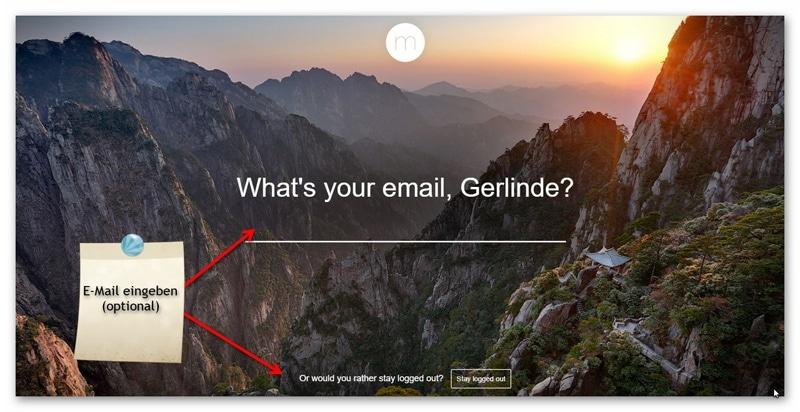 Optional die E-Mail-Adresse in Momentum einfügen