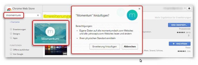 Momentum hinzufügen - Erweiterung Google-Chrome