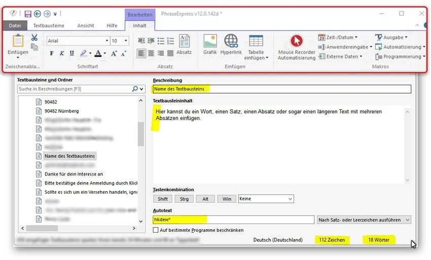 PhraseExpress Textbaustein anlegen und Zeit sparen