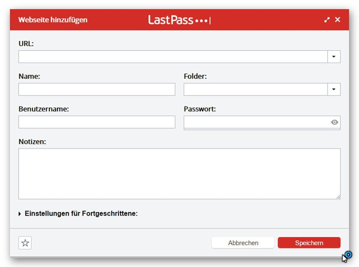 Webseite und Passwörter hinzufügen in LastPass