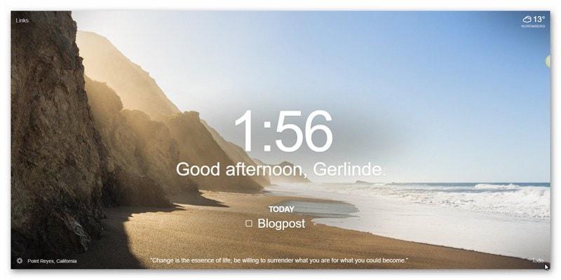 Momentum Chrome-Erweiterung Tagesbild-Beispiel3