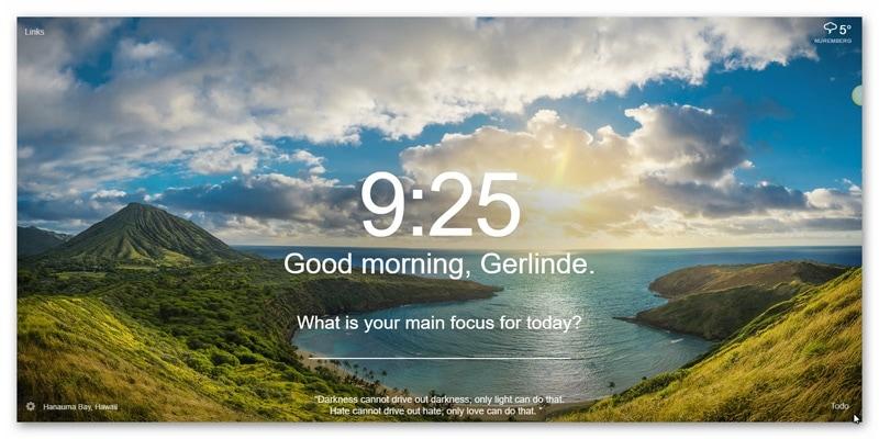 Momentum Chrome-Erweiterung Tagesbild-Beispiel4