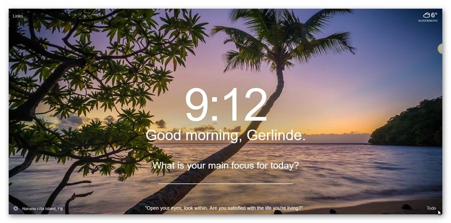Momentum Chrome-Erweiterung Tagesbild-Beispiel5