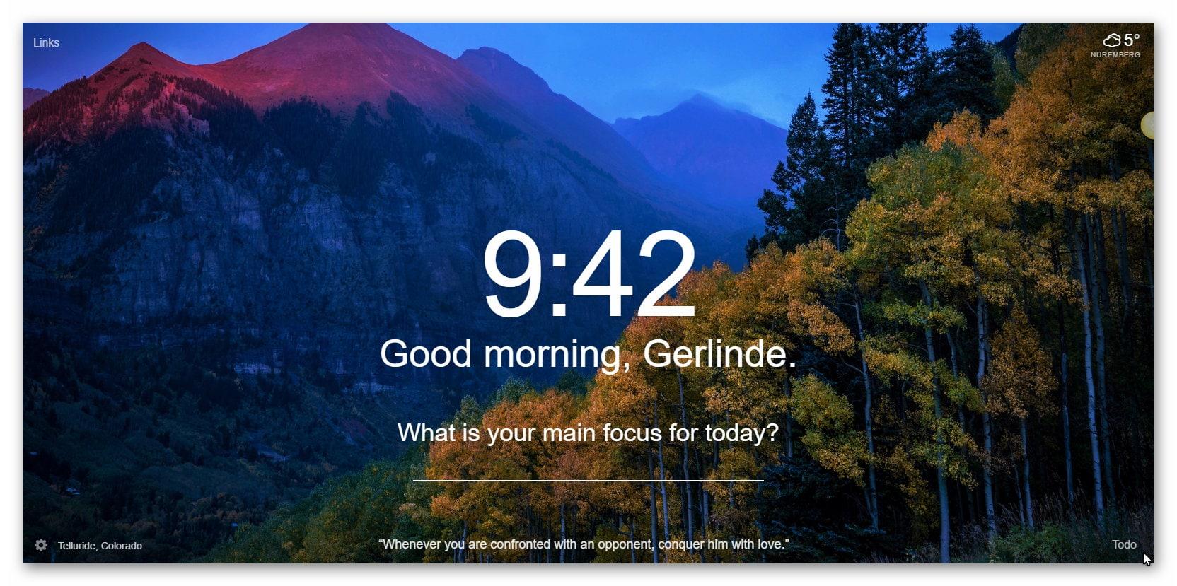 Momentum Chrome-Erweiterung Tagesbild-Beispiel6