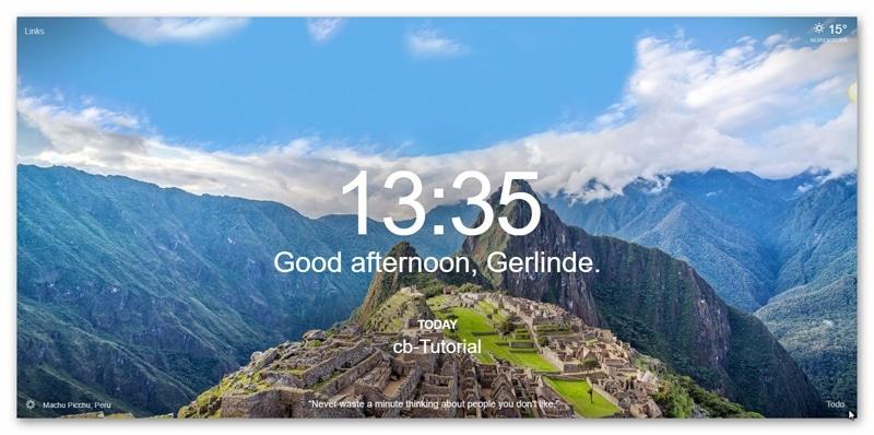 Momentum Chrome-Erweiterung Tagesbild-Beispiel7