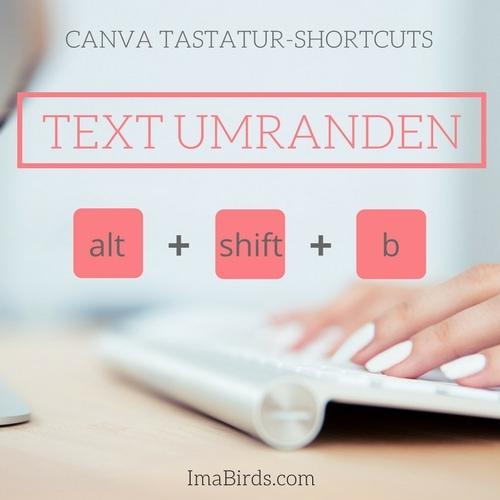 Canva Tastatur-Shortcut zum Text-Rahmen