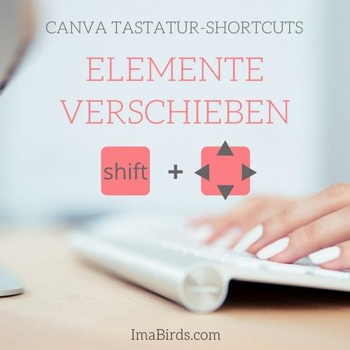 Canva Tastatur-Shortcut zum Verschieben von Elementen