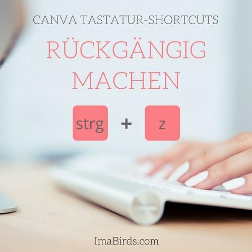 Canva Tastatur-Shortcut rückgängig machen