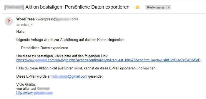 Bestätigungs-Mail zum Exportieren der Daten