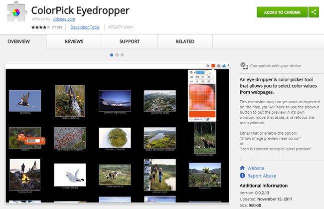 ColorPick Eyedropper Google Chrome Erweiterung