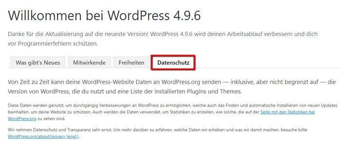 Information zur WordPress-Datensendung