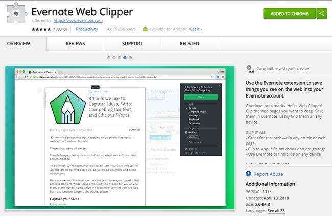 Chrome Erweiterung Evernote Web Clipper
