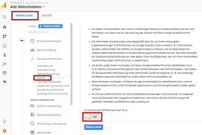 So stellst du die User ID-Funktion in Google Analytics aus