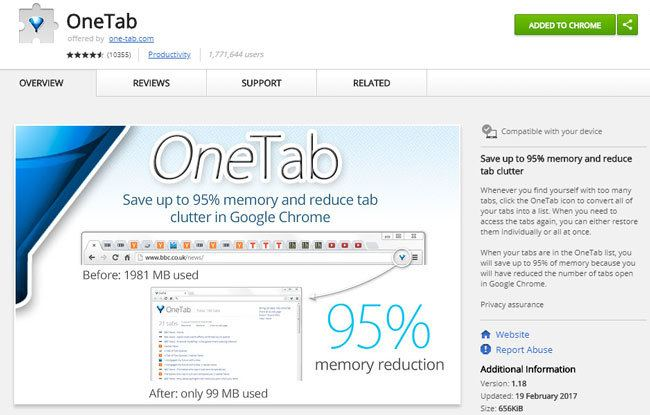 Google Chrome Erweiterung OneTab