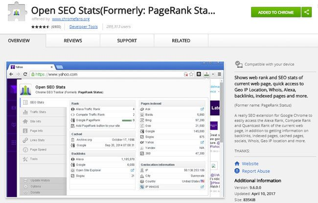 Google Chrome Erweiterung Open SEO Stats