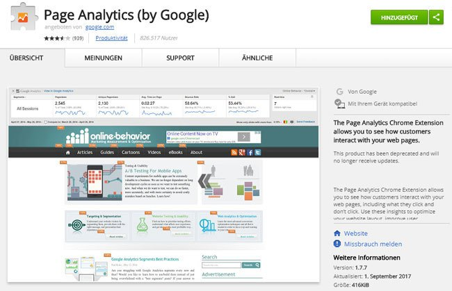 Page Analytics (by Google) . Chrome Erweiterung