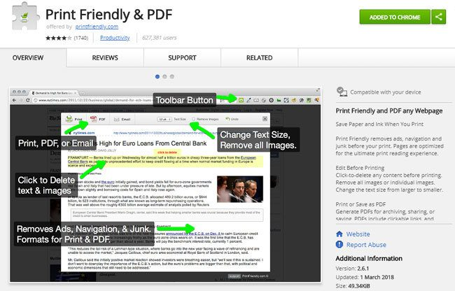 Print Friendly & PDF - Google Chrome Erweiterung