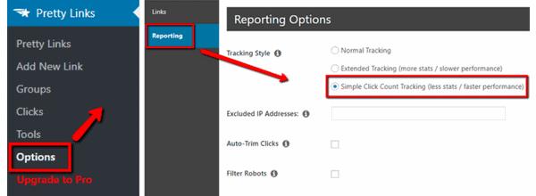 Einstellung der Optionen beim Pretty Links WordPress Plugin