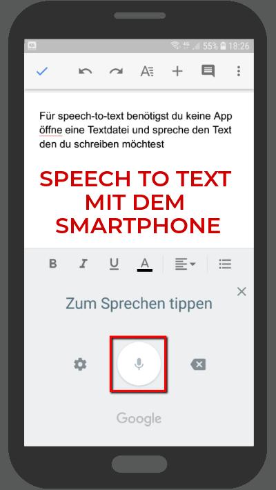 Nutze Speech-to-Text, um mit dem Smartphone Texte zu verfassen