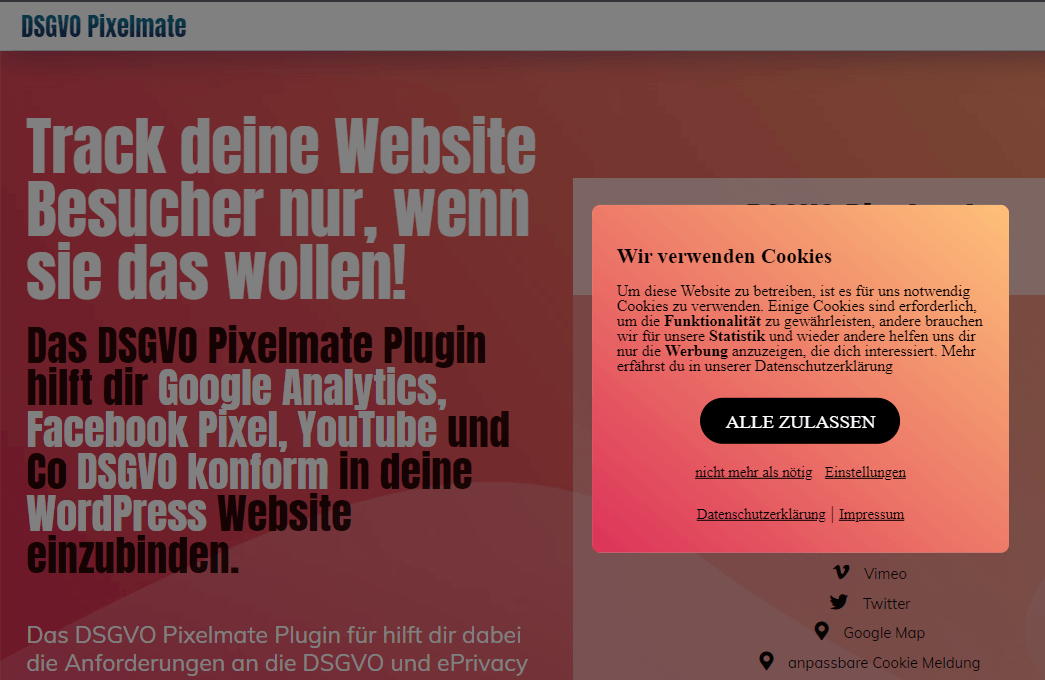 Opt-In und Opt-out mit dem DSGVO Pixelmate WP Plugin