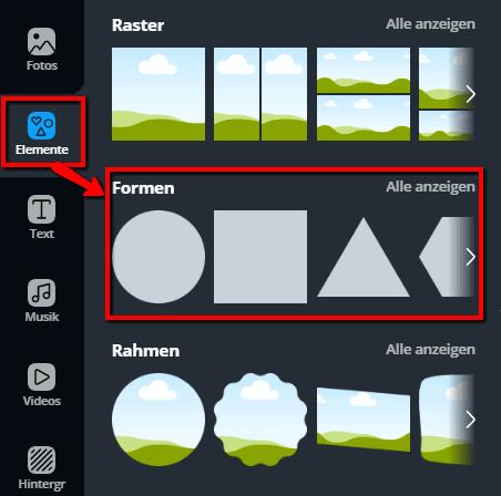 Bildbearbeitung mit Canva: Formen auswählen