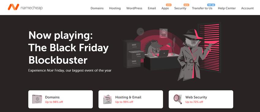 Black Friday Angebote bei Namecheap für Domains, Hosting und Websicherheit